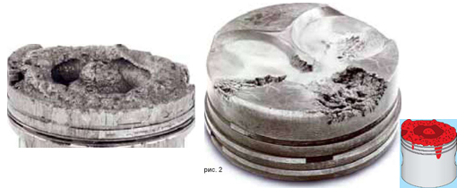 Прогары и отложения на головке поршня