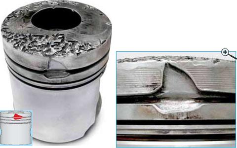 Вымывание материала в зоне колец